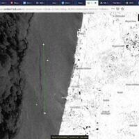 Image satellite montrant une nappe de pétrole de 26,4 kilomètres de long à environ 10 kilomètres de Hadera, dans le nord d'Israël, le 13 février 2021.