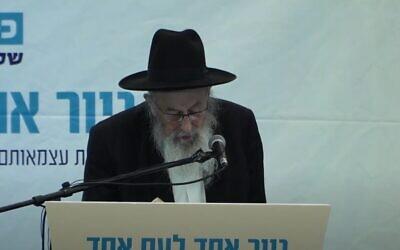 Le rabbin Tsvi Tau en 2018 (Capture d'écran)