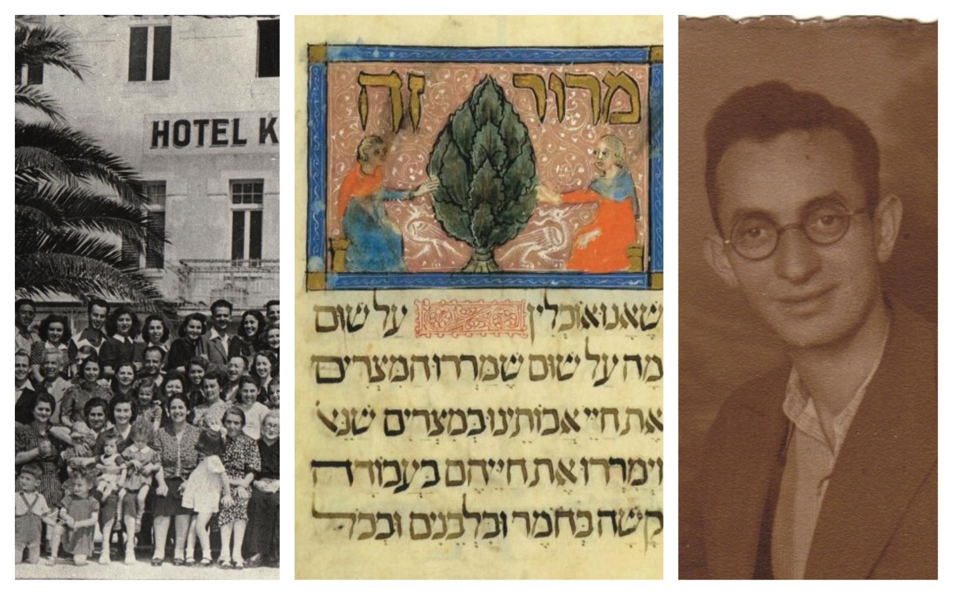 A gauche : Un groupe de civils et de partisans Juifs en Croatie, en 1942 ; au centre : Détail de la page de 'Maror' de la Haggadah de Sarajevo ; à droite : Shani Altarac, en 1948, jeune partisan yougoslave qui avait écrit la Haggadah des partisans.  (Photos des partisans et d'Altarac, Autorisation d'Eliezer Papo/ via JTA; photo de la Haggadah, Autorisation de la Fondation de la culture juive)