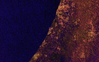 Image satellite d'Israël et de la côte sud de la Méditerranée de Gaza prise par le satellite Sentinel One de l'UE le 12 février 2021. (Capture d'écran)