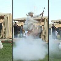 La danse Taachir, le patrimoine populaire des habitants de Taëf, en Arabie saoudite. (Crédit : AFPTV)