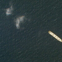 Cette photo satellite du 1er octobre 2020 de Planet Labs Inc. montre le cargo iranien MV Saviz dans la mer Rouge, au large des côtes du Yémen. (Planet Labs Inc. via AP)