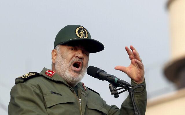 Le chef des Gardiens de la révolution iraniens, le général Hossein Salami, s'exprime lors d'un rassemblement pro-gouvernemental à Téhéran, en Iran, le 25 novembre 2019. (Ebrahim Noroozi/AP)
