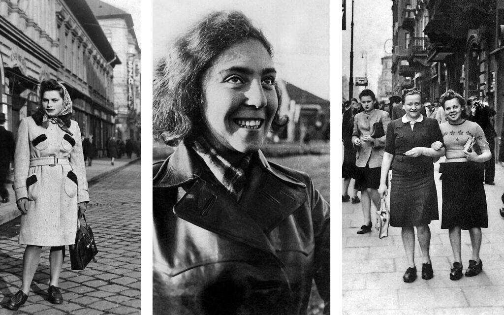 De gauche à droite : Renia Kukiełka à Budapest, en 1944. (Autorisation : Merav Waldman); Tosia Altman (Autorisation : Moreshet, Hashomer Hatzair Archives); la passeuse Hela Schüpper, à gauche, et la cheffe d'Akiva  Shoshana Langer déguisées en chrétiennes du côté aryen de Varsovie, le 26 juin 1943. (Autorisation : Ghetto Fighters' House Museum, Photo Archive)