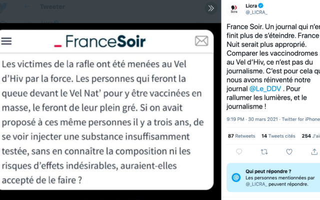 """Un tweet de la Licra reprenant un extrait d'un article de """"France Soir"""". (Crédit : Twitter / Licra)"""