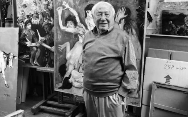 Walter Spitzer dans son atelier parisien. (Crédit : Famille Spitzer)