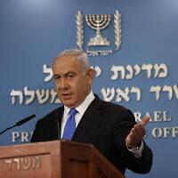 Le Premier ministre israélien Benjamin Netanyahu au cours d'une conférence de presse au bureau du Premier ministre à Jérusalem, le 20 avril 2021. (Crédit : Yonatan Sindel/FLASH90)