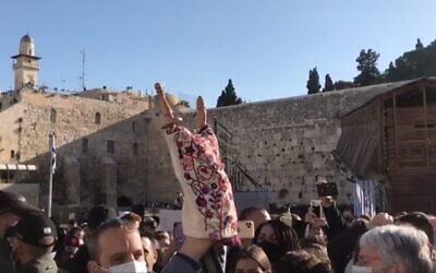 Capture d'écran de la vidéo d'un rouleau de Torah apporté par le député travailliste Gilad Kariv au mur Occidental pour être utilisé dans un groupe de prière féminin, le 13 avril 2021. (Israel Hayom)
