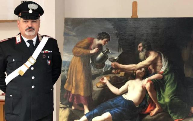 Le tableau de Nicolas Poussin saisi au domicile d'un antiquaire (Crédit : Service de presse des Carabiniers / AFP)