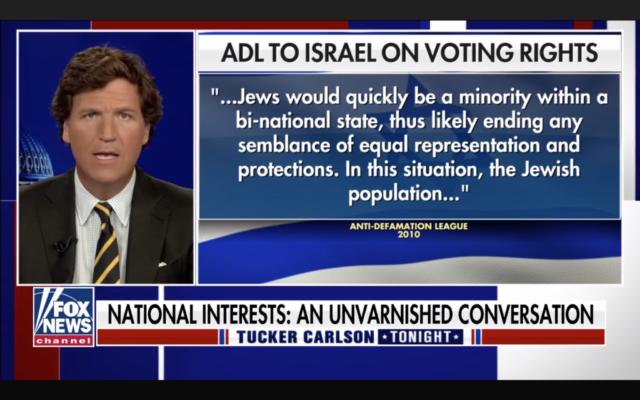 Tucker Carlson s'en prend à l'Anti-Defamation League lors d'un monologue sur Fox News, le 12 avril 2021. (Capture d'écran/ via JTA)