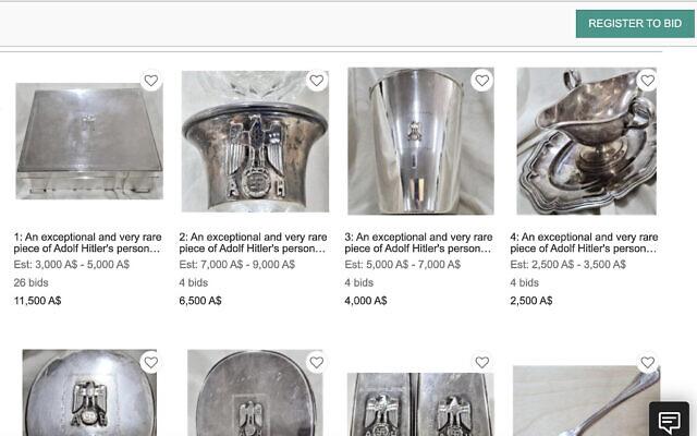 Des objets qui auraient appartenu au leader nazi Adolf Hitler mis en vente aux enchères en Australie par JB Military Antiquities. (Capture d'écran)