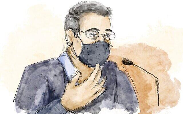 Croquis du tribunal : Ilan Yeshua témoignant devant le tribunal de district de Jérusalem, le 5 avril 2021. (Biana Zakutnik)