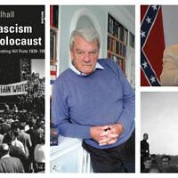 """À gauche: """"Le fascisme britannique après l'Holocauste"""", par le Dr Joe Mulhall. (Autorisation) Au centre: le négationniste David Irving. (CC-BY-SA 3.0 / Allan Warren) En haut à droite: le négationniste et ancien dirigeant du KKK David Duke. (AP / Burt Steel)En bas à droite: le fasciste britannique Oswald Mosley. (photo AP / Bead)"""