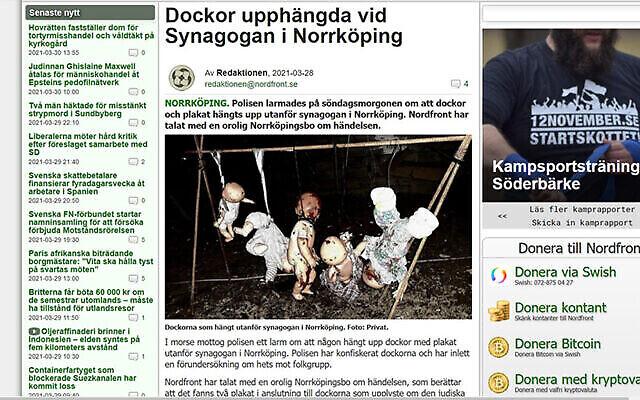 Le site Web du Mouvement de résistance nordique publie une photo de poupées pendues à l'extérieur de la synagogue de Norrkoping, en Suède, le 28 mars 2021. (NRM via JTA)