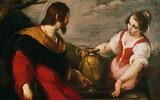 """Le """"Christ et la Samaritaine au puit """" de Bernardo Strozzi au Museum de Fundatie à Zwolle, aux Pays-Bas. (Crédit : Museum de Fundatie)"""