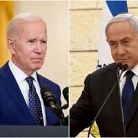 A gauche : Le président américain Joe Biden parle de la Russie dans la salle Est de la Maison Blanche, jeudi 15 avril 2021, à Washington. (AP Photo/Andrew Harnik) ; à droite : Le Premier ministre Benjamin Netanyahu prend la parole lors d'une cérémonie à la mémoire des soldats tombés au combat à la maison Yad LeBanim, à la veille du Yom HaZikaron, à Jérusalem, le mardi 13 avril 2021. (Debbie Hill/Pool Photo via AP)