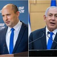 A gauche : Le chef du parti Yamina, Naftali Bennett, donne une conférence de presse à la Knesset à Jérusalem, le 21 avril 2021 ; A droite : Le Premier ministre Benjamin Netanyahu s'exprime lors d'une conférence de presse à la Knesset à Jérusalem, le 21 avril 2021. (Yonatan Sindel/Flash90)
