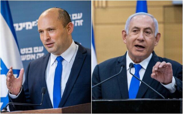 A gauche : Le chef du parti Yamina, Naftali Bennett, donne une conférence de presse à la Knesset à Jérusalem, le 21 avril 2021; A droite: Le Premier ministre Benjamin Netanyahu s'exprime lors d'une conférence de presse à la Knesset à Jérusalem, le 21 avril 2021. (Yonatan Sindel/Flash90)