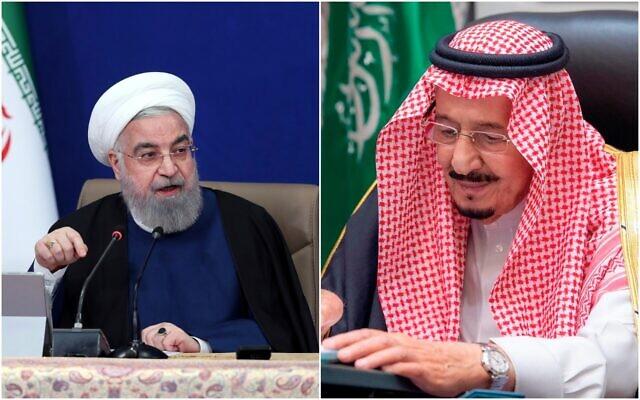 Le président iranien Hassan Rouhani (à gauche) et le roi d'Arabie saoudite Salman. (Crédit : AP)