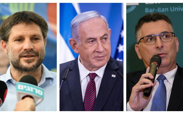 Le chef du Parti sioniste religieux Bezalel Smotrich (g), le Premier ministre Benjamin Netanyahu (c), et le chef de Tikva Hadasah, Gideon Saar (d). (Crédits : Flash90)