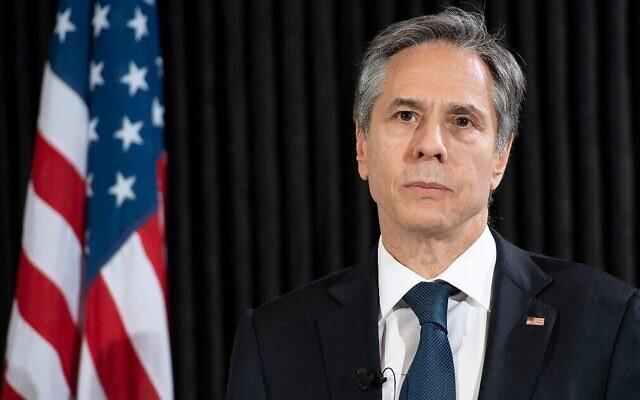 Le secrétaire d'État américain Anthony Blinken lors d'une conférence de presse avec le ministre danois des Affaires étrangères à Copenhague, le 17 mai 2021. (Crédit : SAUL LOEB / POOL / AFP)