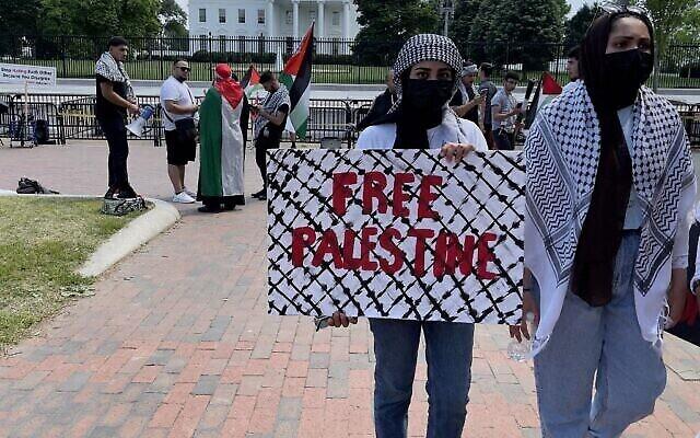 Photo d'illustration : Des manifestants brandissent des panneaux en soutien aux Palestiniens devant la Maison-Blanche de Washington, le 20 mai 2021. (Crédit : Daniel SLIM / AFP)