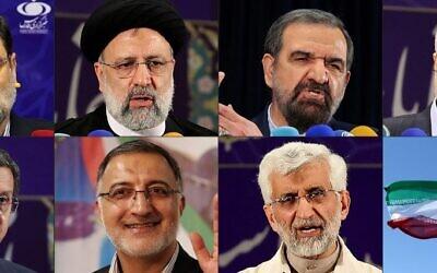(COMBO) Cette combinaison d'images créée le 26 mai 2021 montre de haut en bas et de gauche à droite : le candidat à la présidence iranienne Amirhossein Ghazizadeh-Hashemi s'adressant à une conférence de presse à Téhéran le même jour, le chef de la justice iranienne Ebrahim Raissi prononçant un discours après avoir enregistré sa candidature aux présidentielles iraniennes à Téhéran le 15 mai, l'ancien chef iranien des Gardiens de la révolution Mohsen Rezai, l'ancien vice-président iranien Mohsen Mehralizadeh, le chef de la Banque centrale iranienne Naser Hemati (Hemmati), le candidat conservateur à la présidence, Alireza Zakani, l'ancien négociateur nucléaire Saeed Jalili plus tôt ce mois-ci et le drapeau national de la République islamique sur une photo prise le 11 février 2020 lors du 41e anniversaire de la révolution islamique. (Crédit : ATTA KENARE / AFP)