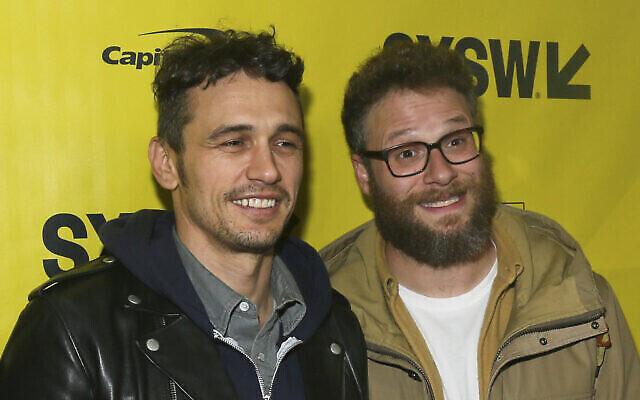"""James Franco, à gauche, et Seth Rogen arrivent pour une projection de """"The Disaster Artist"""" au  Paramount Theatre, à Austin, au Texas, le 12 mars 2017. (Crédit :  Jack Plunkett/Invision/AP)"""