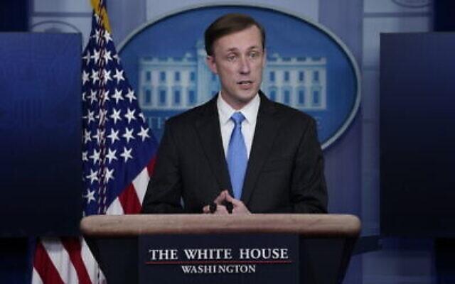 Le conseiller à la sécurité nationale Jake Sullivan pendant un point-presse à la Maison-Blanche, le 4 février 2021, à Washington, le 4 février 2021 (Crédit : AP/Evan Vucci)