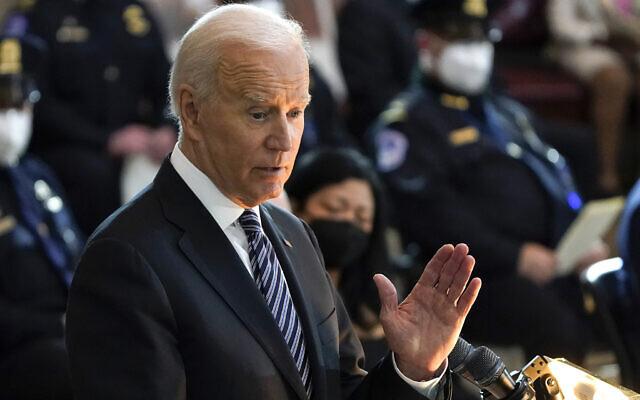Le président américain Joe Biden au Capitole à Washington, le 13 avril 2021. (AP Photo/J. Scott Applewhite, Pool)