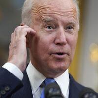 Le président Joe Biden s'exprime dans la salle Roosevelt de la Maison Blanche, à Washington, le 13 mai 2021. (Crédit : AP Photo/Evan Vucci)