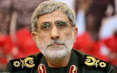 Le commandant des Gardiens de la révolution chargé des opérations à l'étranger Esmail Ghaani. (Crédit : Bureau du Guide suprême iranien via l' AP)