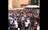 Des Jordaniens manifestent près de l'ambassade d'Israël à Amman, capitale de la Jordanie, à propos de l'expulsion imminente de plusieurs familles palestiniennes dans le quartier de Sheikh Jarrah à Jérusalem-Est, le 9 mai 2021. (Capture d'écran)