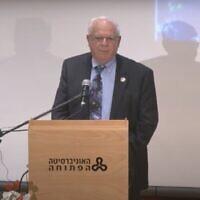Capture d'écran d'Avi Har-Even, a ancien directeur de l'Israel Space Institute, durant une conférence à l'université Bar Ilan, en février2013. (Capture d'écran YouTube)