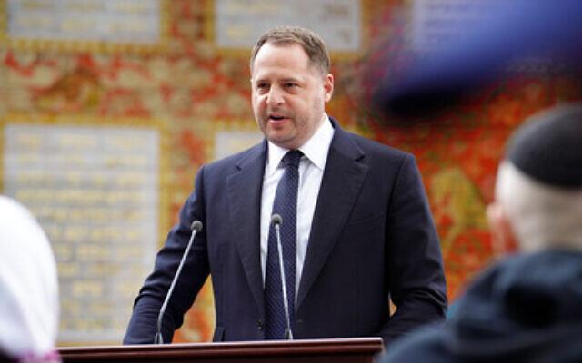 Le chef du bureau présidentiel de l'Ukraine, Andrii Yermak, lors d'une cérémonie d'hommage aux Justes des Nations, le 19 mai 2021. (Crédit : PRNewsWire)