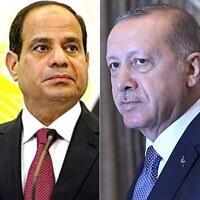 Le président égyptien Abdel Fatah el-Sissi et le président turc Recep Tayyip Erdogan. (Crédit : CC BY SA 3.0/AP)