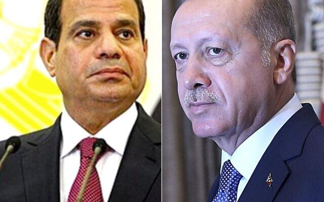 Montage. Le président égyptien Abdel Fatah el-Sissi et le président turc Recep Tayyip Erdogan. (Crédit : CC BY SA 3.0/AP)