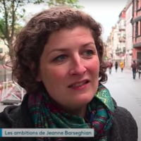 Jeanne Barseghian lors de sa campagne électorale pour la mairie de Strasbourg en 2019. (Crédit : Capture d'écran France 3 Grand Est / YouTube)