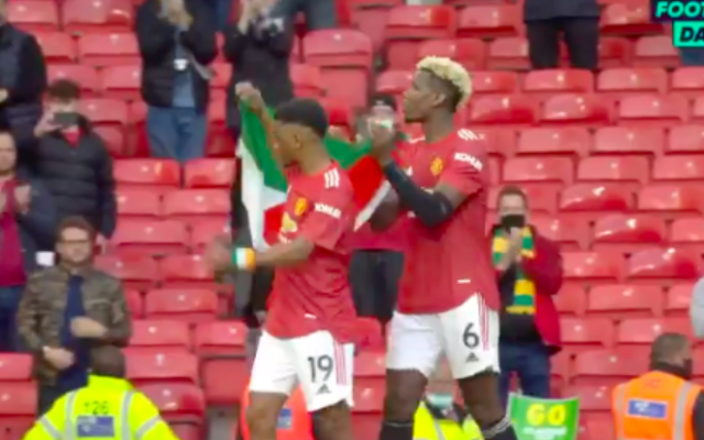 Amad Diallo et Paul Pogba brandissent un drapeau palestinien après le match nul mardi 18 mai 2021 contre Fulham à Old Trafford. (Crédit : capture d'écran Twitter)