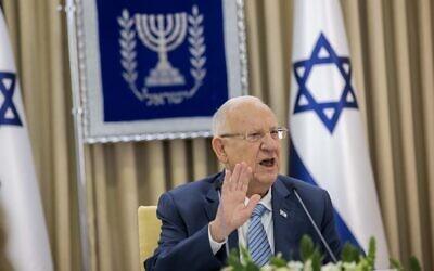 Le président Reuven Rivlin rencontre le parti Yesh Atid à la résidence du président à Jérusalem, le 5 avril 2021. (Yonatan Sindel/Flash90)