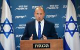 Le président de Yamina, Naftali Bennett, dirige une réunion de faction à la Knesset, le 26 avril 2021. (Yonatan Sindel/Flash90)