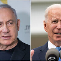 Benjamin Netanyahu et Joe Biden. (Crédit : montage photos Flash 90/AP)