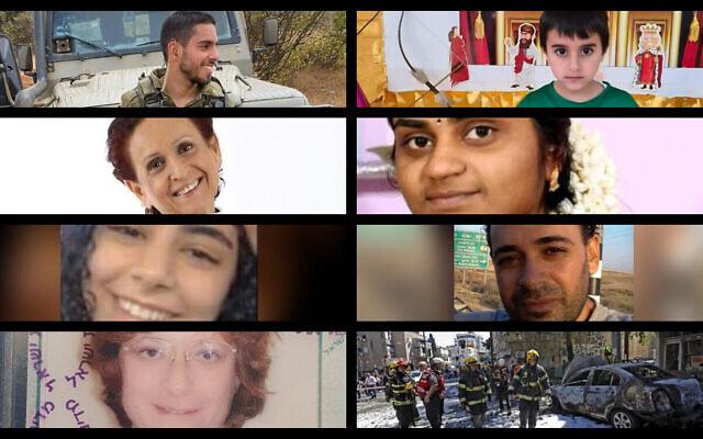 Certaines victimes des tirs de roquette de Gaza : En haut(à gauche)  Omer Tabib (à droite) Ido Avigal; deuxième rangs (à g.) Leah Yom-Tov (à d.) Soumya Santosh; 3e rang : (à g.) Nadeen Awwad (à droite) Khalil Awwad; 4e rang (à droite) Nela Gurvitch à gauche) Ramat Gan après la pluie de roquettes. (Crédit : Oren ZIV / AFP)
