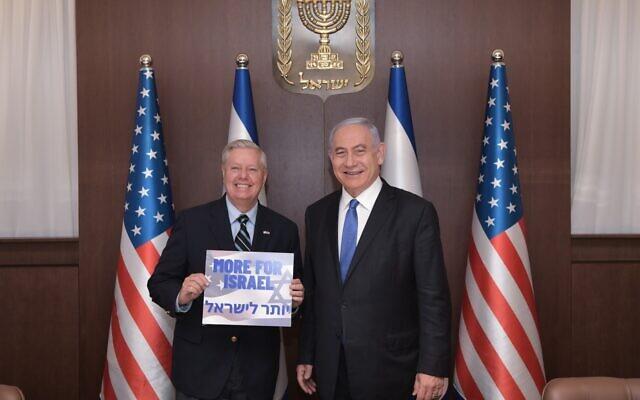 Benjamin Netanyahu et Lindsey Graham, le 31 mai 2021, à Jérusalem (Crédit : Kobi Gideon/GPO)
