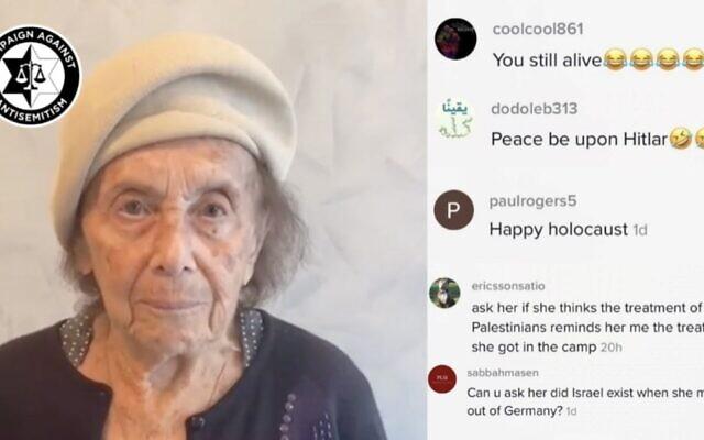 Le compte TikTok de la survivante de la Shoah Lily Ebert a été inondé de messages antisémites. (Crédit : Campaign Against Antisemitism via JTA)