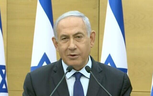 Le Premier ministre Benjamin Netanyahu  condamne le gouvernement d'unité que vient d'annoncer son rival Naftali Bennett qui rejoint Yair Lapid, de Yesh Atid, le 30 mai 2021. (Capture d'écran))