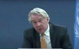 Capture d'écran de la vidéo du coordinateur spécial des Nations unies pour le processus de paix au Moyen-Orient, Tor Wennesland. (YouTube)