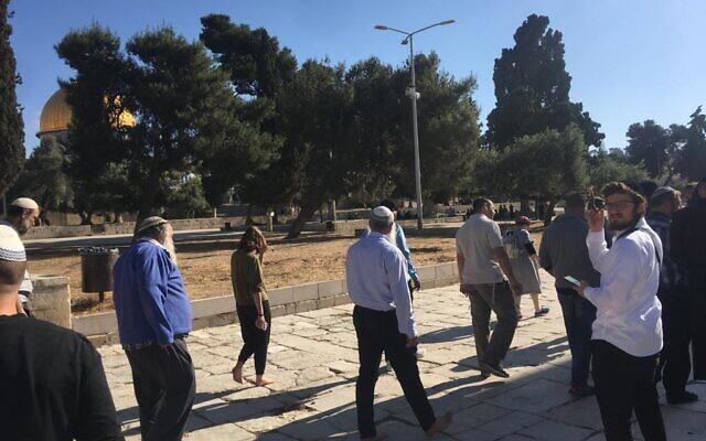 Un groupe de juifs religieux visite le mont du Temple dans la Vieille Ville de Jérusalem, après sa réouverture au public, le 23 mai 2021 (Crédit : Autorisation)