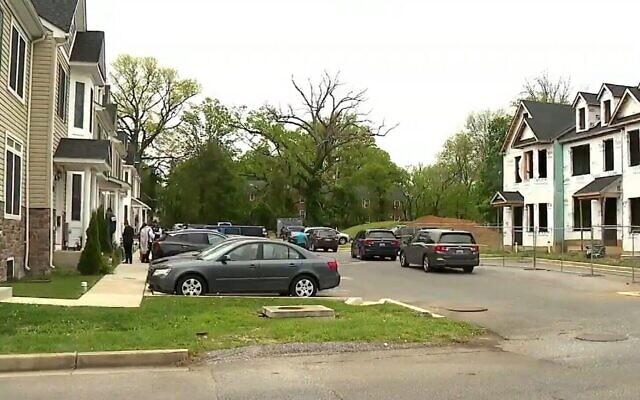La scène où l'Israélien Efraim Gordon a été abattu à Baltimore, le 2 mai 2021. (Capture d'écran/Fox Baltimore)