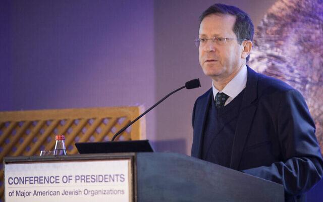 Le président de l'Agence juive, Isaac Herzog, lors de la conférence de la CoP  (Conference of Presidents of Major American Jewish Organizations) à Jérusalem, le 18 février 2019. (Crédit : Hadas Parush/Flash90)